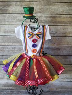 Clown tutu, clown tutu costume, kids clown costume, rainbow costume, Halloween costume for men . Costume Halloween, Girl Clown Costume, Halloween Costumes For Girls, Girl Costumes, Costumes For Women, Halloween Pictures, Kids Tutu, Toddler Tutu, Toddler Costumes