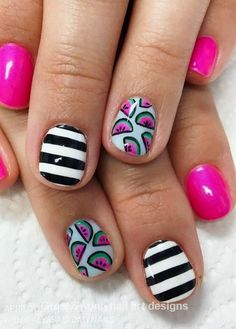 32 Summer and Spring Nails Designs and Art Ideas Watermelon Nail Art Designs for spring nails and Summer fun with stripes Diy Nail Designs, Simple Nail Art Designs, Nail Designs Spring, Nail Designs For Kids, Watermelon Nail Art, Fruit Nail Art, Watermelon Nail Designs, Watermelon Ideas, Nail Swag