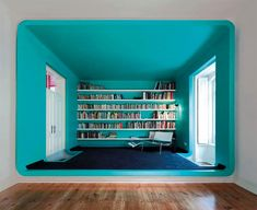 Designer Cooking Schools The GMG House By Pedro Gadanho In Torres Vedras, Portugal. Great use of one color on ceiling and walls -- nice rounded corners. Contemporary Architecture, Interior Architecture, Building Architecture, Contemporary Decor, Appartement Design, Blue Rooms, Blog Deco, Deco Design, Reading Room