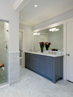 dark blue traditional bathroom cabinetry and vanity