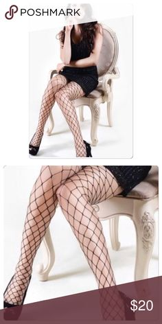"🆕 Large Gauge Fishnet Pantyhose These large gauge Fishnet panty hose is perfect to wear with something sexy or under your hole jeans.  Material: 88% Nylon 12% Spandex  One Size fits most - up to 5'10"" up to 175lbs Accessories Hosiery & Socks"
