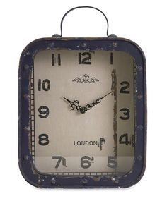 Blue Vintage Square Table Clock.