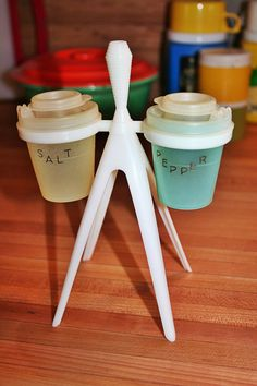 Vintage Pastel Tupperware Salt & Pepper Shakers with Toothpick Holder Stand