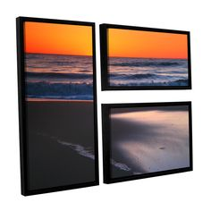 ArtWall Steve Ainsworth 'As Dawn Approaches' 3 Piece Floater Framed Flag Set (24x36), Blue