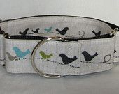 Birds on a Wire Martingale Dog Collar - 1.5 Inch - teal olive black khaki