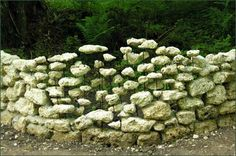 Cornelia Konrads ~'Le mur' ~ Installation between two rocks. Stones, concrete, metal - 1.4 x 14.0 x 0.4 m