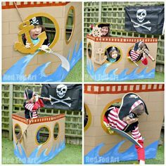 Cardboard-DIY-Pirate-Ship-photoprop-and-play-house-for-a-pirate-party.jpg - Cardboard-DIY-Pirate-Ship-photoprop-and-play-house-for-a-pirate-party. Deco Pirate, Pirate Day, Pirate Theme, Pirate Flags, Pirate Kids, Pirate Photo Booth, Peter Pan Party, 4th Birthday Parties, Lego Parties