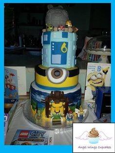 A boys dream cake. Lego Chima Tier One, Minions Eye Tier Two. Angry Bird Star Wars tier three. Lego Chima figures, Angry Bird star wars figures with Death Star Ship.   www.angelwingscupcakes.co.uk