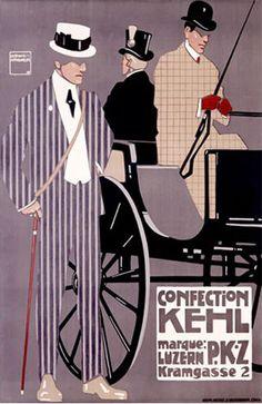 Confection Kehl Gentlemen's Clothing Advertisement Poster  Art Nouveau