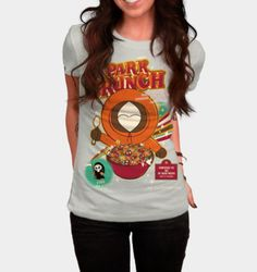 Funny South Park cereal box style Kenny McCormick T-shirt for Women http://ragebear.com/to/south-park-crunch-shirt