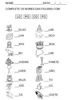 Complete a Sílaba Inicial Atividade para completar a sílaba inicial. Alfabetização. Atividade 2 para completar a sílaba inicial.…