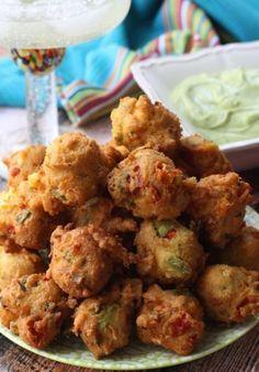 Avocado Fritters with Avocado Cilantro Cream Dipping Sauce