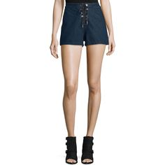 rag & bone/JEAN High-Rise Lace-Up Denim Shorts (€185) ❤ liked on Polyvore featuring shorts, resin, high-waisted jean shorts, high waisted shorts, lace up denim shorts, denim short shorts and jean shorts