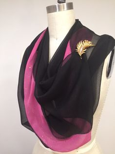 Black Silk Chiffon Infinity Scarf Pink Chiffon with by Olimpias