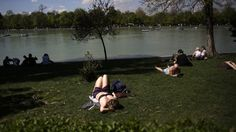 People sunbathe and watch boats on an artificial lake as they enjoy the warm weather during a sunny spring day at Madrid's Retiro park April 7, 2014.
