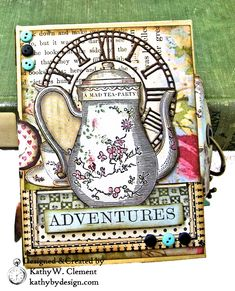 Stamperia Alice ATC Tea Box Mini Album Tutorial - Kathy by Design Girl Scout Leader, Girl Scouts, Chicken Scratch Embroidery, Atc Cards, Craft Cards, Mini Album Tutorial, Burlap Fabric, Tea Box, Mad Hatter Tea