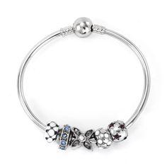 119 Pandora Bangle Charm Bracelet Purple Flower Two Tone Heart Hot Sku Cb01670 Ideas Pinterest B