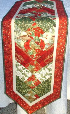 Christmas Table Runner Quilt Centerpiece Table Topper - Red, Green, Gold - Birds, Pine Cones, Music