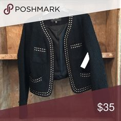 Jacket w/silver beading/cropped Cropped black jacket w/silver beading. Karen Kane Jackets & Coats Puffers