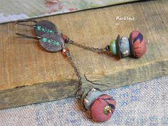 """Boucles d'oreille bohème,vintage""""Les bohémiennes de Tokyo""""perle soie et tissu japonais,chaînette et cristal,vert et rose : Boucles d'oreille par rare-et-sens"""