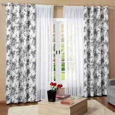 Você está procurando por uma cortina elegante e de qualidade? Então a Cortina Essenciale Preto e Branco - Tecido Jacquard e Voil + Detalhe em Ilhós 3,00m X 2,70m - Para Varão Simples é a escolha certa! Esta linda cortina deixará sua casa mais charmosa!