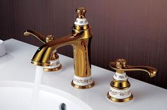 Free shipping gold color deck mounted Bathroom basin Sink Mixer tap Three holes Two handles Widespread Faucet BF158#faucet