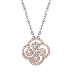 14k White/pink Gold Diamond Fashion Necklace