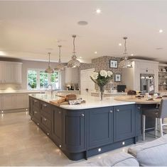 Creating Your Dream Kitchen Fall back in love with your kitchen with the Laura Ashley Kitchen Collection Open Plan Kitchen Dining Living, Open Plan Kitchen Diner, Living Room Kitchen, Home Decor Kitchen, Home Kitchens, Kitchen Ideas, Two Tone Kitchen, Kitchen Images, Open Plan Kitchen Interior