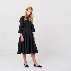 9132772961  Black  linen  dress Plus size linen Flare dress with 3 4 sleeves