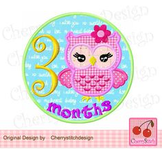 New baby,Baby 3 months with Cute girly owl,Baby one month,Birthday number 1 embroidery applique design -for 4x4 5x7 6x10 hoop by CherryStitchDesign on Etsy