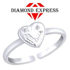 """1/20 Ct Brilliant Round Cut 14K Gold Heart Toe Ring """"Mother\'s Day Gift"""". Starting at $1"""