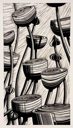 Helen Roddie limited edition linocut prints with a botanical theme. Linocut Prints, Art Prints, Block Prints, Gravure Photo, Art Connection, Motifs Textiles, Linoprint, Wood Engraving, Engraving Printing