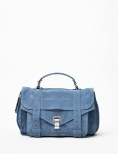 The Proenza is a new classic. I really think it's a perfect bag. And in sky blue suede, it's even better! Blue Suede, Proenza Schouler, Tote Handbags, Messenger Bag, Purses And Bags, Fashion Accessories, Crystal Springs, Satchel, Spring 2015