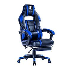 """KILLABEE Reclining Racing Gaming Chair - Ergonomic High-back Office Computer Desk Chair with Retractable Footrest and Adjustable Lumbar Cushion, Blue&Black - Features: -Back tilt Locking mechanism 90-175 degrees angle adjuster -Adjustable lumbar cushion -High-quality base with Smooth-rolling casters -Premium high density foam and PU leather material Specifications: -Maximum capacity: 250 lbs -Seating area dimension: 21.3"""" x 20.1"""" (W x D) -Backrest dim..."""