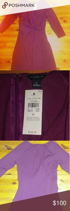 Beautiful  Ann Taylor Purple Twisted Dress Beautiful Ann Taylor Purple Twisted Front Dress. Brand new size small 93%  Rayon 7% Spandex. For free as a bonus this beautiful  silver shoe purple diamond necklace. You look stunning when you wear this dress. Ann Taylor Dresses Long Sleeve