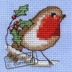 Stitchlets Christmas Card Cross Stitch Kit - Robin - Giggle Factory