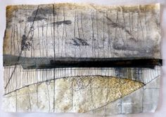 Debbie Lyddon : Large Marshscape – Black Loops and Diagonal line, Cloth, Stitch, Wax, approx. 28x20cms