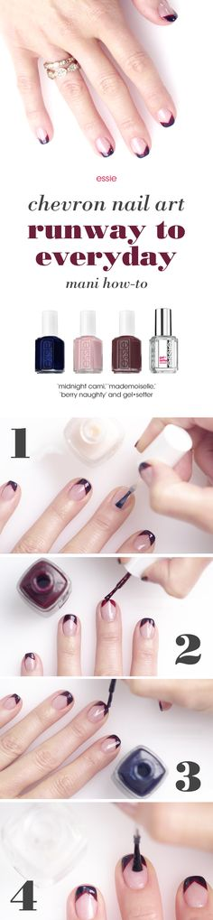 We're bringing high fashion from the New York Fashion Week runway to your nails with this fun and easy 'runway to everyday' look from Rebecca Minkoff's fall 2015 collection.   Recreate this look with essie nail polishes:   Prep nails with any essie base coat. Apply one coat of 'mademoiselle' nail polish to nails. Stripe on 'berry naughty' nail lacquer in a chevron shape to tip of nails. Layer on 'midnight cami' polish in same chevron shape. Seal and shine with gel•setter.