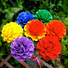 Handmade Paper Flower   Rainbow Colours Pom Pom by DragonflyExpression  - #rainbow