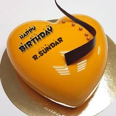 Heart Shape Mirror Glazed Mango Birthday Cake With Name