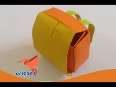 origami school bag backpack easy - YouTube