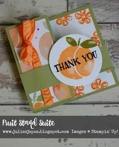 Julie Kettlewell - Stampin Up UK Independent Demonstrator - Order products 24/7: Peachy Z Fold Card