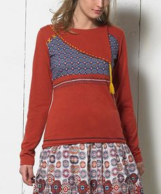 Look at this Coline USA Rust & Blue Tassel Long-Sleeve Top - Plus Too on #zulily today!