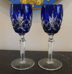 Ajka Clarendon Cobalt Blue Cut To Clear Crystal Wine Cordial Liqueurs New Signed Attractive Designs; Bohemian/czech Art Glass