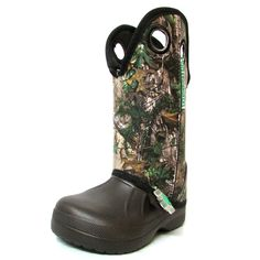 Ugly Kracomucker Kids Brown with RealTree Camo Boots Camo Boots, Realtree Camo, Kids Boots, Little Man, Being Ugly, Rubber Rain Boots, Brown, Baby, Shoes