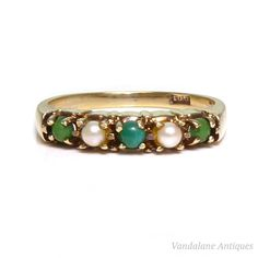 Victorian antique turquoise & seed pearl devotion ring band 9ct 375