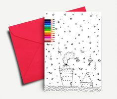 Coloring Cards, Kids Coloring Card, Greeting Cards, Boat Coloring, Printable Cards, Traveling Card, Digital Coloring Cards, INSTANT DOWNLOAD by AthinArtPrint on Etsy