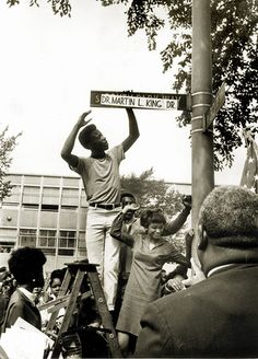 FLASHBACK: 1968. The day after the Chicago City Council voted to rename South Park Way after the recently assassinated Martin Luther King Jr, summer students at Dunbar Vocational High School Willie Thornton, Lamar Jackson and Pat Foster couldn't wait for the city to change the signs. Some aldermen had complained that King deserved more of a tribute. That came five years later when Illinois became the first state to honor the civil-rights leader with a holiday.