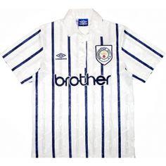 68c5bcf4ca77 1993-95 MCFC White with Blue stripes Umbro 3rd strip Classic Football Shirts