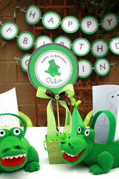 Alligator theme first birthday party ideas. This alligator party is too cute! First Birthday Party Themes, Party Themes For Boys, Third Birthday, Boy Birthday, Crocodile Party, Alligator Party, Happy 1st Birthdays, Safari Party, Animal Party